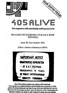 405 Alive Issue Issue 25 (First Quarter 1995)